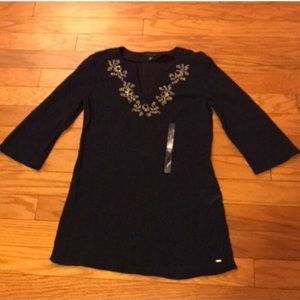 Tommy Hilfiger Navy Beaded Tunic Top